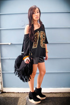 black fringed purse - black boots Soule Phenomenon shoes