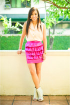 white boots bought online shoes - hot pink Poisonberry skirt - light pink random