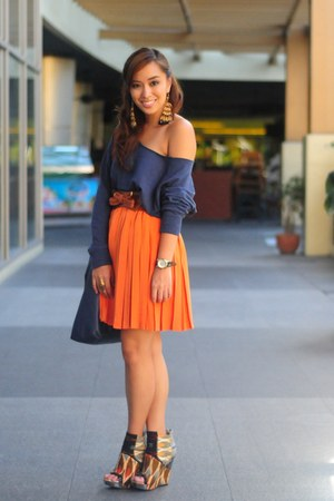 blue sweater Forever 21 top - heels Aldo shoes - orange skirt