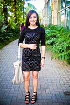 black Pop culture dress - black Forever 21 shoes - gray Forever 21 purse