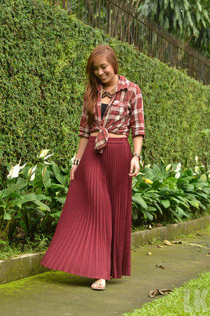 brick red maxi borrowed from my sister skirt