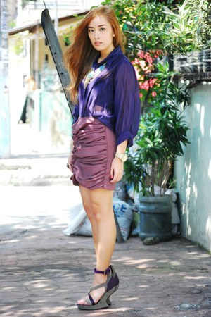 purple top - purple skirt