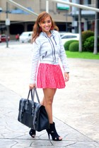 blue Zara jacket - red striped Forever 21 skirt