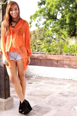 black Topshop shoes - blue denim random brand shorts - orange sheer Styledistric
