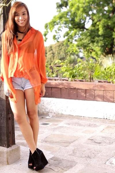 black Topshop shoes - blue denim random brand shorts - orange sheer Styledistric