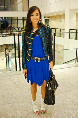 blue Soule Phenomenon blazer - blue dress - white bought online shoes - black CM