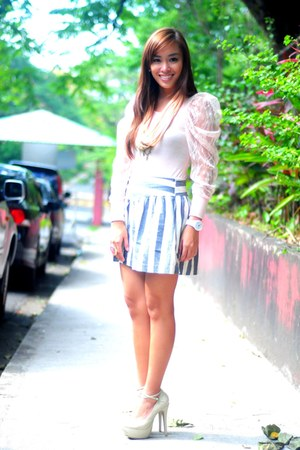 nude heels janilyn shoes - blue striped skirt - lace Pink Manila top