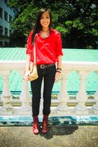 red Tango top - black Mango pants - red bought online shoes - beige purse - silv