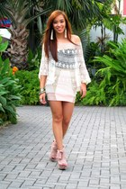 pink wisteria Topshop shoes - nude bodycon Pink Manila skirt - nude crochet top