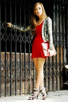 red Zara dress - sequined Mango blazer