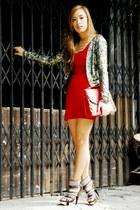 red Zara dress - sequined Mango blazer
