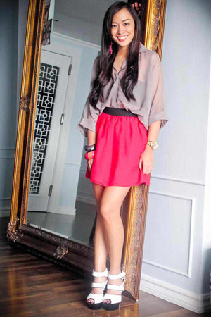 gray random brand top - hot pink Vice Clothing skirt - white bought online shoes