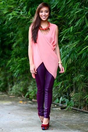 maroon cotton on leggings