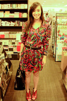 red Lovevintagemanila dress - red bought online shoes - black CMG accessories