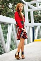 red Zara top - heels Aldo shoes