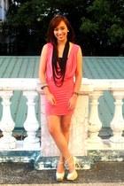 nude heels janilyn shoes - pink H&M dress - black necklace random brand accessor