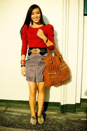 red random brand top - black Glitterati skirt - black Glitterati belt - gold ich