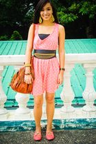 pink Zara dress - brown purse - pink PBJ shoes - black Glitterati belt