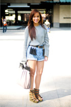 olive green Fivebyfive shoes - gray oversized Topshop sweater - blue denim studd