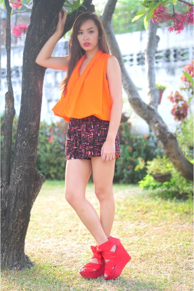 red wisteria Topshop shoes - orange used as a top dress - printed shorts