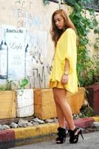 yellow Forever 21 skirt - black heels Zara shoes - yellow Tan Gan top