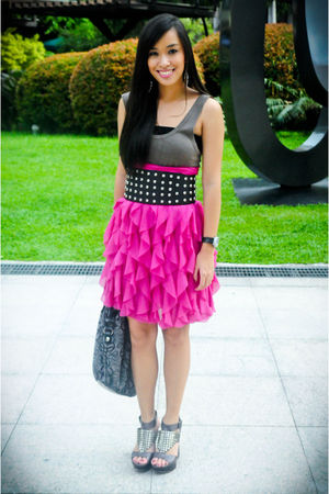 black studded Glitterati belt - purple used as a skirt Iora dress
