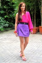 pink heels shoes - hot pink assymetrical Summersault top - purple Eight One skir