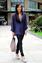 purple from a bazaar top - black Forever 21 leggings - silver michael antonio sh