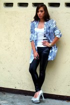 silver heels michael antonio shoes - black Zara leggings - white oversized rando