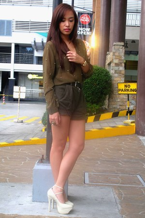 nude heels janilyn shoes - army green Zara shorts - olive green studded sheer Wi