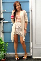 brown Soulier shoes - nude draped Soiree from GTW at SM department store skirt -
