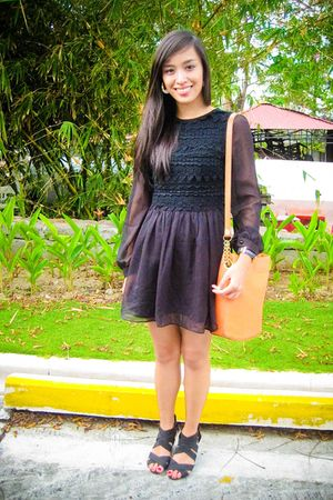black Lovevintagemanila dress - black bought online shoes - orange Vintage from