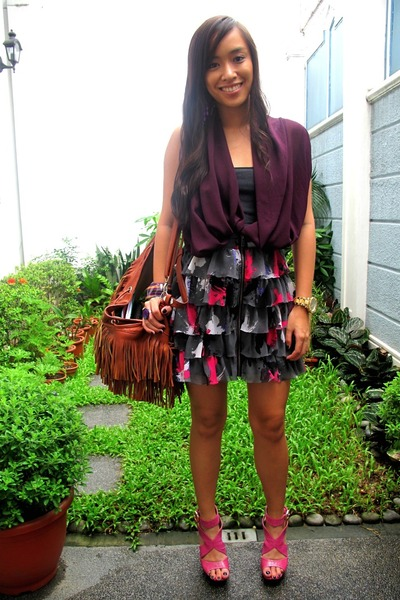 purple V clothing top - gray Undernourished Manila skirt - purple bought online