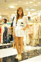 nude gold dot shoes - white blazer - white shorts - white intimate