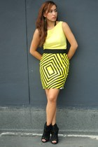 yellow printed Poisonberry skirt - yellow used as a top Zara dress