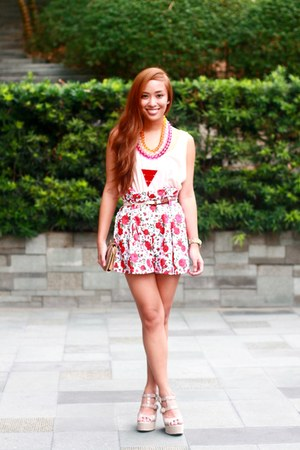 red printed Silay shorts