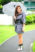 gray cape top - black striped Glitterati skirt