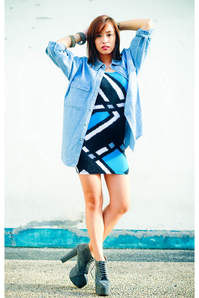 gray lynka Soule Phenomenon shoes - blue printed Forever 21 dress - blue denim T