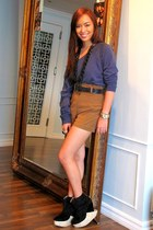 black Soule Phenomenon shoes - blue oversized Forever 21 sweater - brown shorts