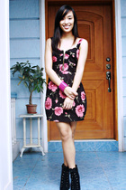black floral Pink Manila dress - black boots Charles and Keith shoes