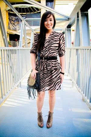 brown printed bangkok dress - brown boots Forever 21 shoes