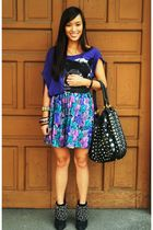purple Zara top - purple skirt - black Zara shoes - black PBJ purse - black rand