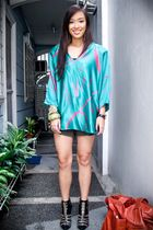 green random brand top - gold Zara shorts - black bought online shoes