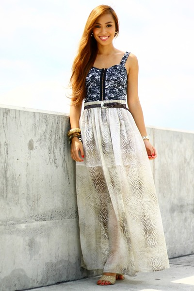 off white maxi shimmer skirt