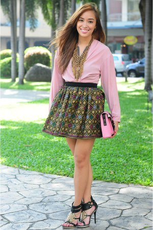 custom made skirt - black heels michael antonio shoes - pink top