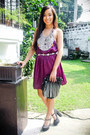 Purple-forever-21-dress-black-forever-21-purse-black-forever-21-shoes