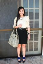 beige PD top - black Zara skirt - black Zara belt - blue Tyler shoes - gray CMG 