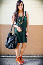 green from JLs garage sale dress - black PBJ purse - gold random brand accessori