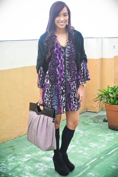 purple Tango dress - black - black random brand socks - black Topshop shoes - pu