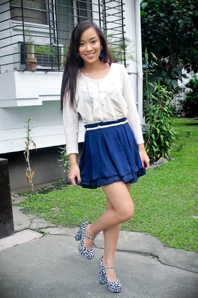 white Forever 21 top - blue Forever 21 skirt - blue Forever 21 shoes